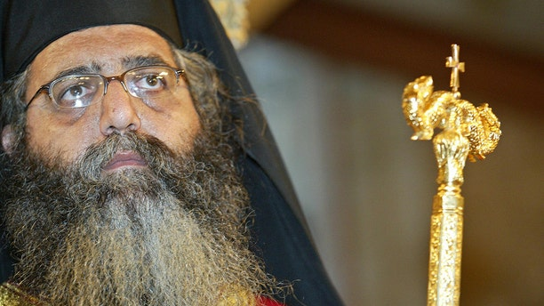 The Bishop of Morphou Neophytos conducts a ceremony at St Mammas Church in Moorphou.