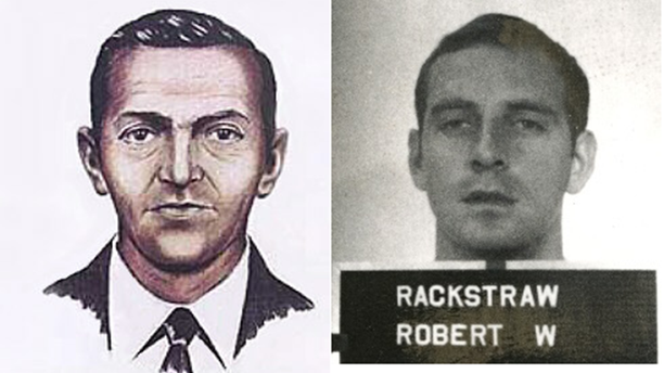 A side-by-side- comparison of D.B.Cooper and Robert Rackstraw.