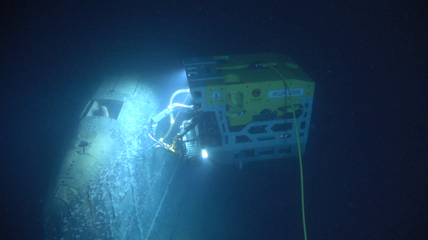 The Remotely-Operated Vehicle (ROV) AEgir 6000 working on the submarine wreck. (Institute of Marine Research Norway/Ægir 6000)