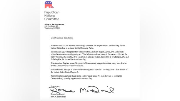 The Republican National Committee sends letters to dozens of Democratic officials -- highlighting their party's inaction in response to attacks on the American flag.