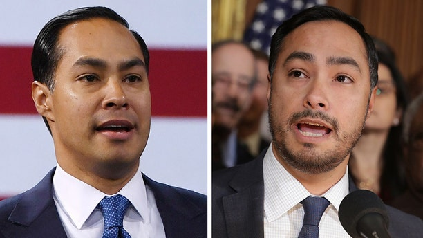"""Julián Castro, left, and Joaquin Castro, right, are often confused for one another. So Joaquin decided to grow his beard back """"so that people don't always think"""" he's running for president."""