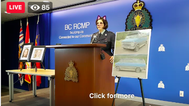 A sergeant with the Royal Canadian Mounted Police addresses reporters Friday about a double homicide that occurred in British Columbia. A cat filter mistakenly activated during a live stream of the sergeant's presentation.