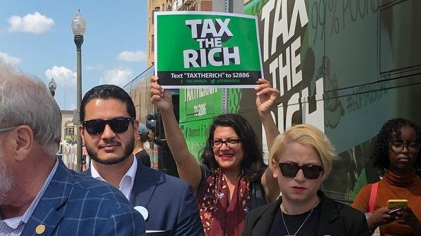 """Rep. Rashida Tlaib, D-Mich., at a """"Tax the Rich"""" rally in Detroit. (Adam Shaw/Fox News)"""