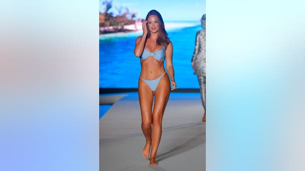Haley Kalil walks the runway during the 2019 Sports Illustrated Swimsuit Runway Show During Miami Swim Week At W South Beach on July 14, 2019 in Miami Beach, Florida. (Photo by Frazer Harrison/Getty Images for Sports Illustrated)