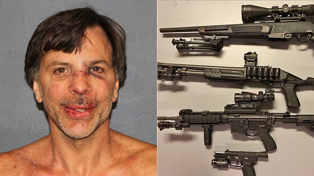 Mugshot for Joseph Manley, 56. Photo, right, shows guns he was accused of using when cops say he fired at trees while drunk.