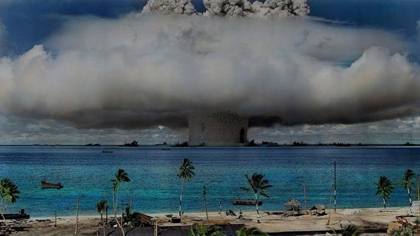 The United States used the Marshall Islands as a testing ground for 67 nuclear weapon tests from 1946 to 1958, causing human and environmental catastrophes that persist to this day. (Credit: World Future Council)