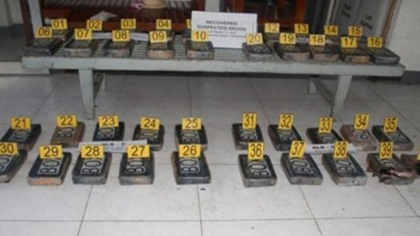 Police present 40 cocaine blocks with a street value of $4.2 million USD during a press conference at Camp Simeon Ola in Legazpi City on Tuesday, May 28, 2019.