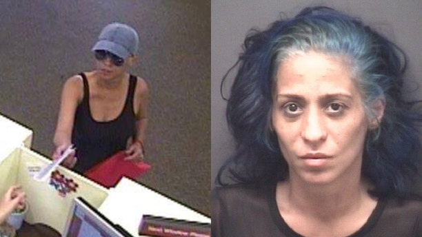 "The FBI said it arrested Circe Baez, 35, Sunday in Charlotte and charged her with being the ""Pink Lady Bandit"" bank robber."