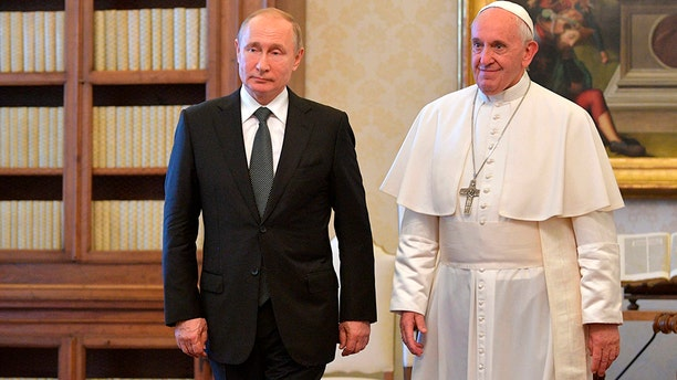 Pope Francis and Russian President Vladimir Putin on the occasion of their private audience at the Vatican, Thursday, July 4, 2019. (Alexei Druzhinin, Sputnik, Kremlin Pool Photo via AP)