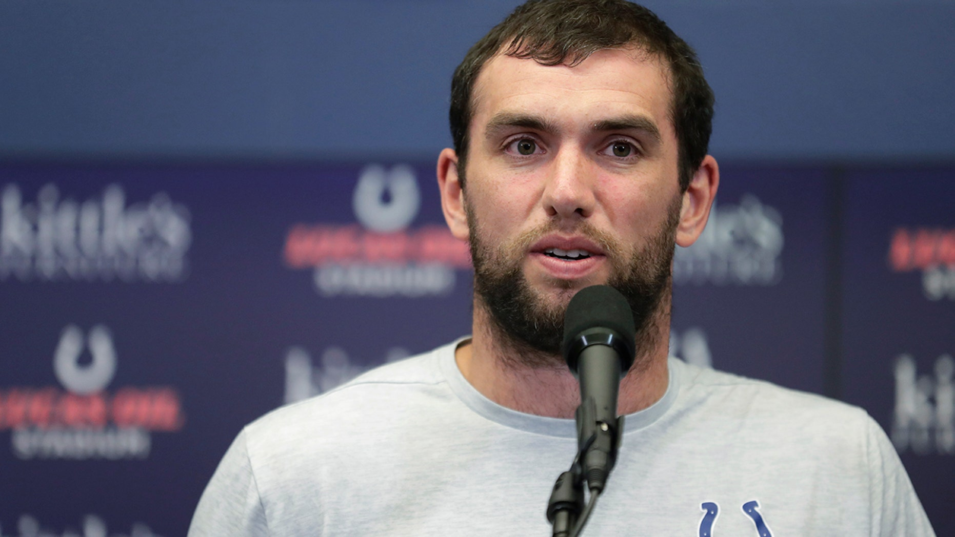 Indianapolis Colts quarterback Andrew Luck speaks during a news conference following the team's NFL preseason football game against the Chicago Bears, Saturday, Aug. 24, 2019, in Indianapolis. (AP Photo/Michael Conroy)