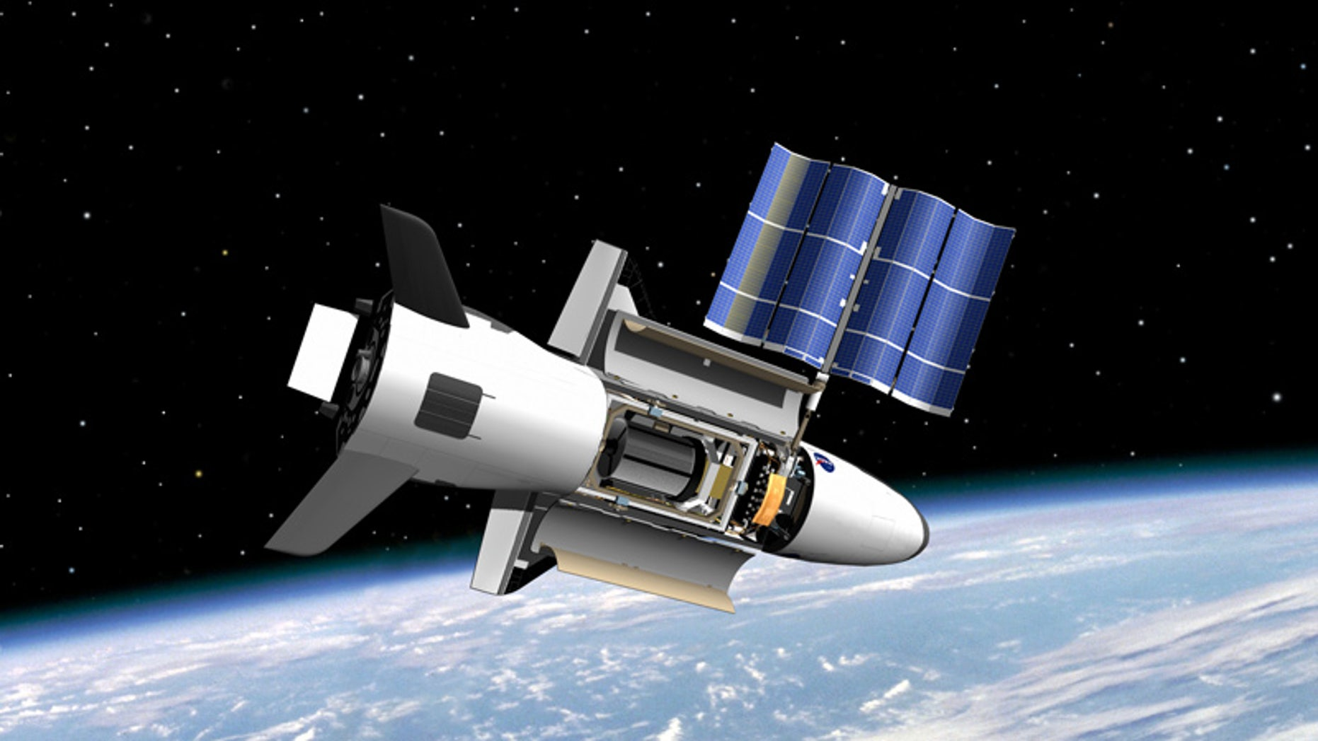 An artist's illustration of the U.S. Air Force's X-37B space plane in orbit.