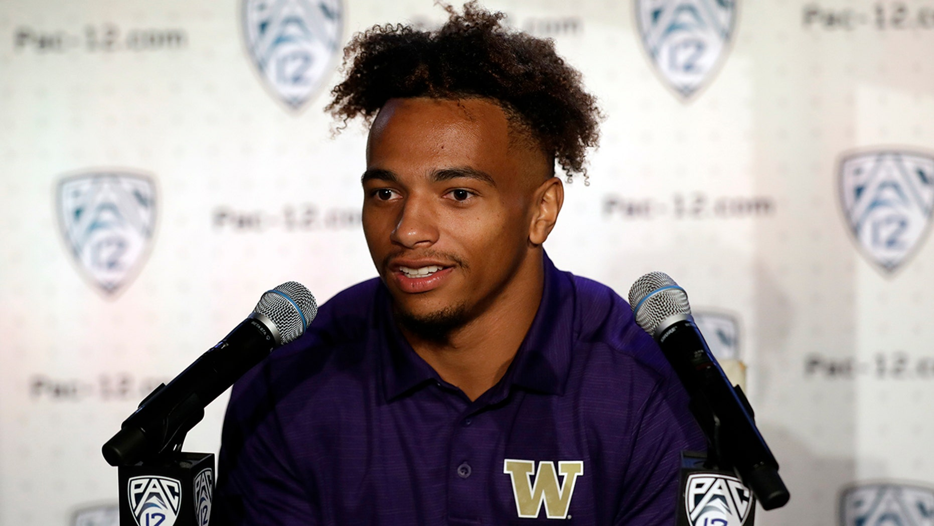 Washington defensive back Myles Bryant answers questions during the Pac-12 Conference NCAA college football Media Day Wednesday, July 24, 2019, in Los Angeles. (AP Photo/Marcio Jose Sanchez)