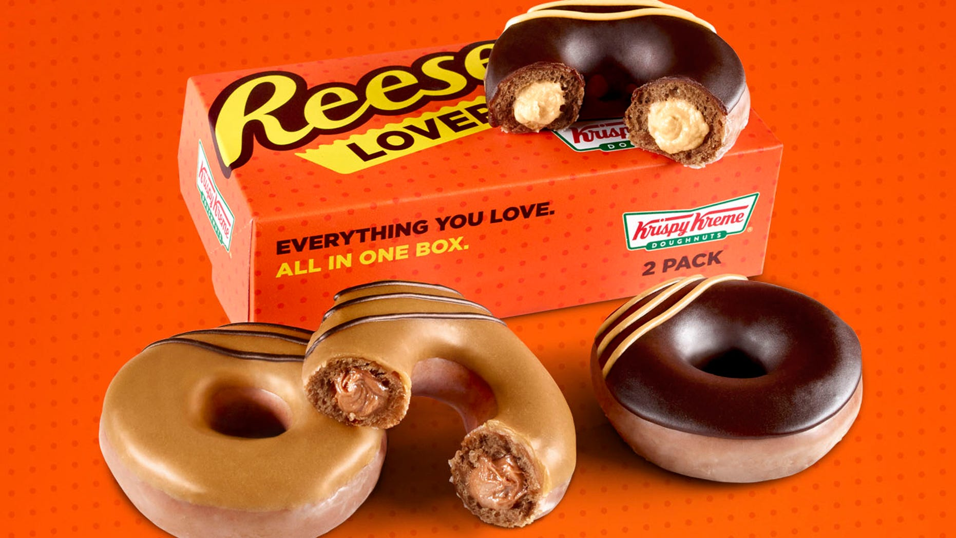 Krispy Kreme will sell the Reese's doughnuts in two packs, inspired by the classic Reese's Peanut Butter Cups two packs.