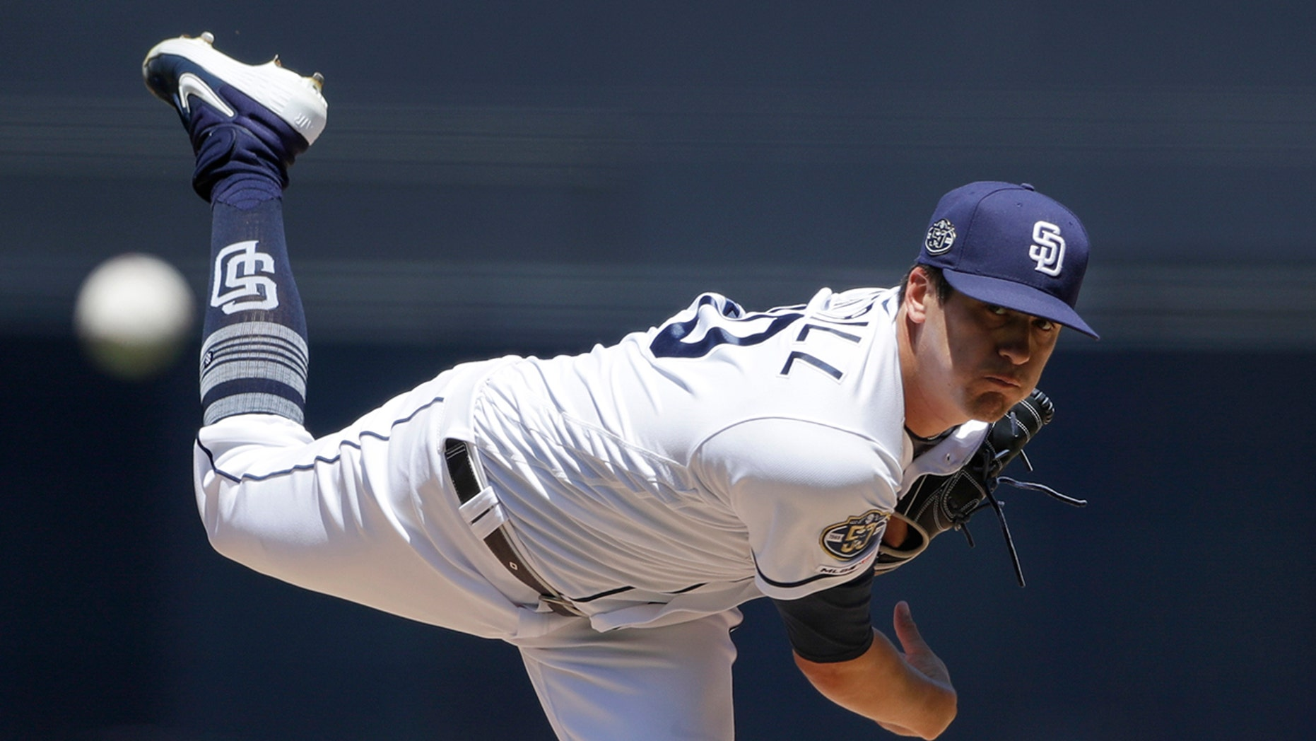 San Diego Padres starting pitcher Cal Quantrill works against a Tampa Bay Rays batter during the first inning of a baseball game Wednesday, Aug. 14, 2019, in San Diego. (AP Photo/Gregory Bull)
