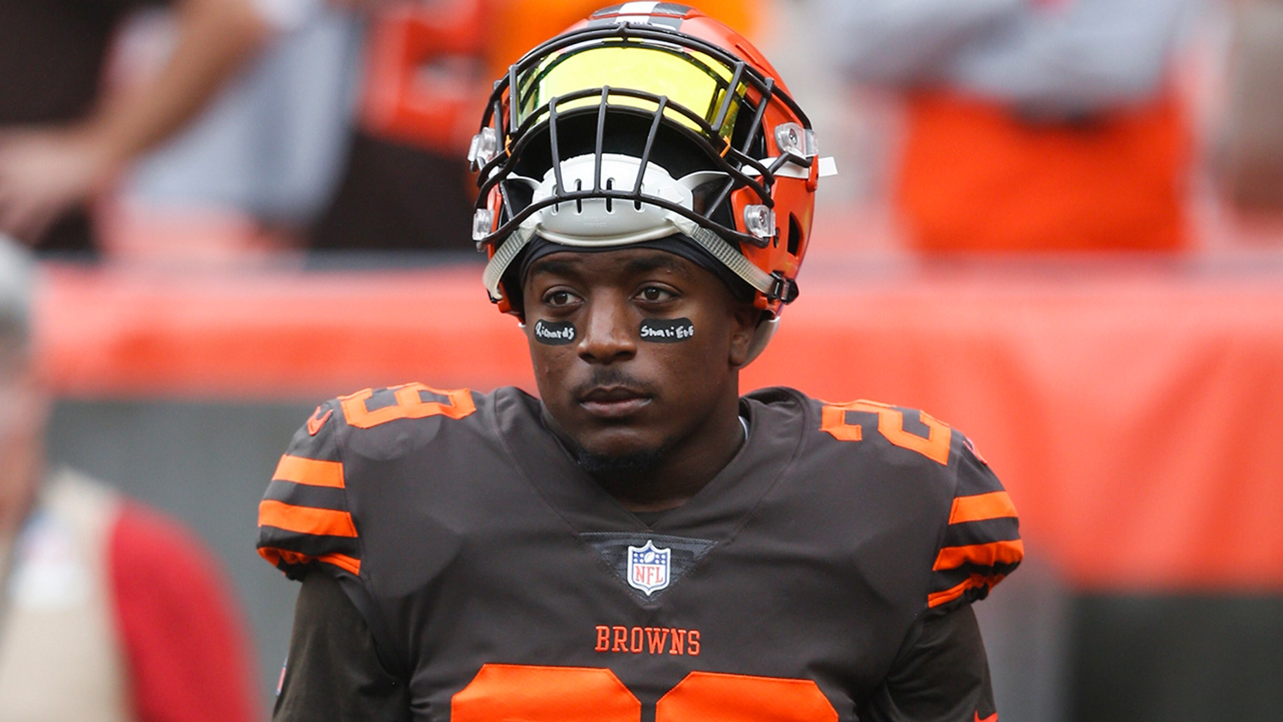 FILE - In this Oct. 7, 2018, file photo, Cleveland Browns running back Duke Johnson (29) warms up before an NFL football game against the Baltimore Ravens, in Cleveland. The Browns have traded disgruntled running back Duke Johnson, Thursday, Aug. 8, 2019, to the Houston Texans for an undisclosed 2020 draft pick. (AP Photo/Ron Schwane, File)