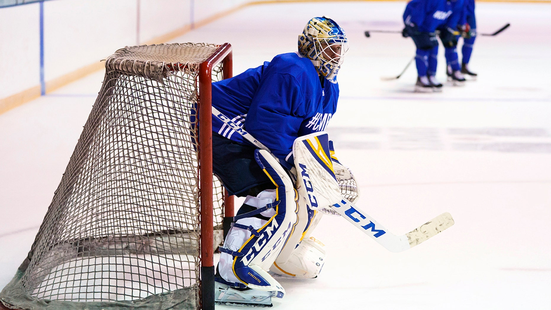 St. Louis Blues goalie Jordan Binnington trains at the 2019 BioSteel Pro Hockey Camp in Toronto, Monday, Aug. 26, 2019. (Mark Blinch/The Canadian Press via AP)