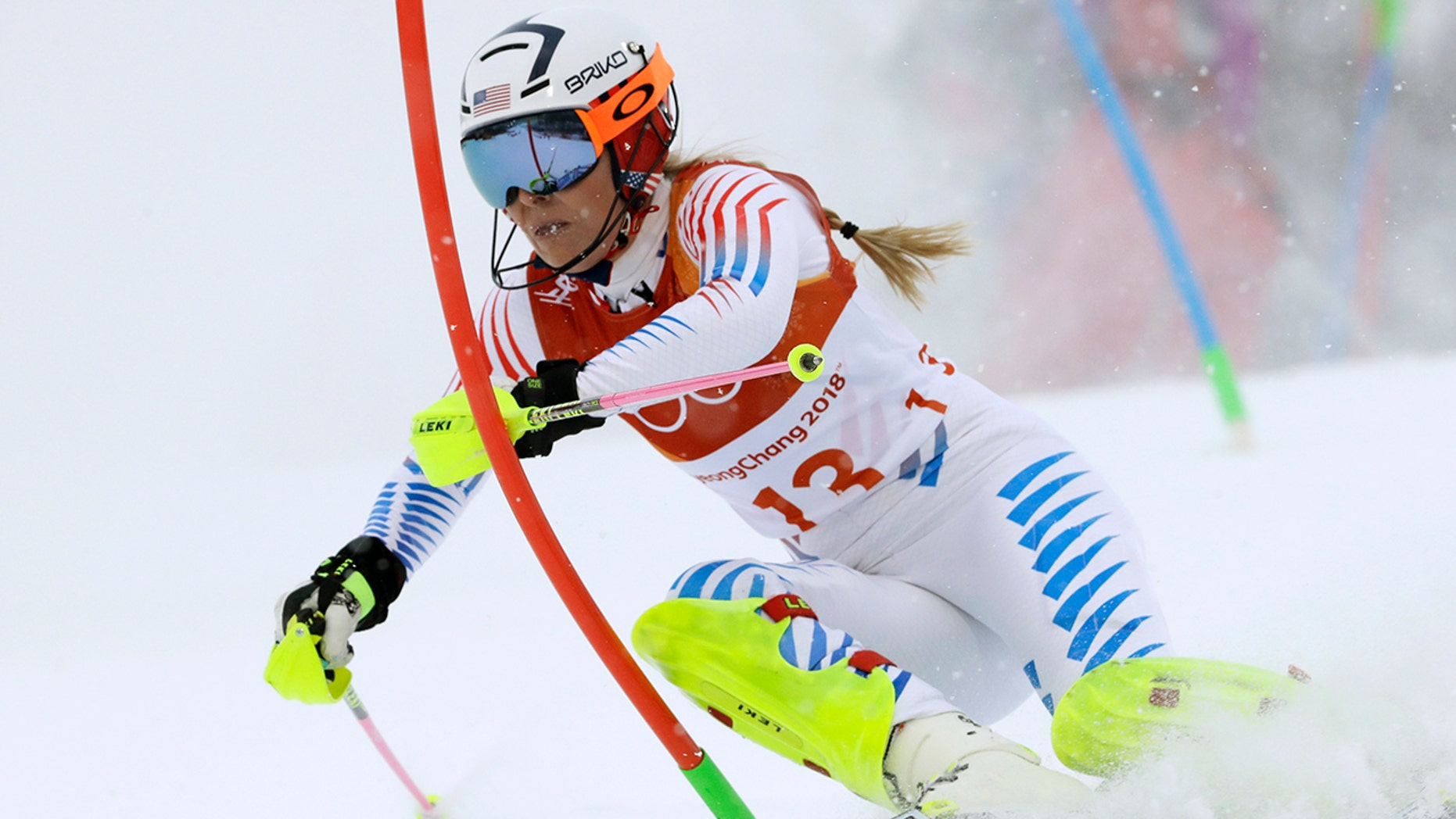 FILE - In this Thursday, Feb. 22, 2018 file photo, Lindsey Vonn competes in the women's combined slalom at the 2018 Winter Olympics in Jeongseon, South Korea. Retirement hasn't slowed down Lindsey Vonn. (AP Photo/Luca Bruno, File)