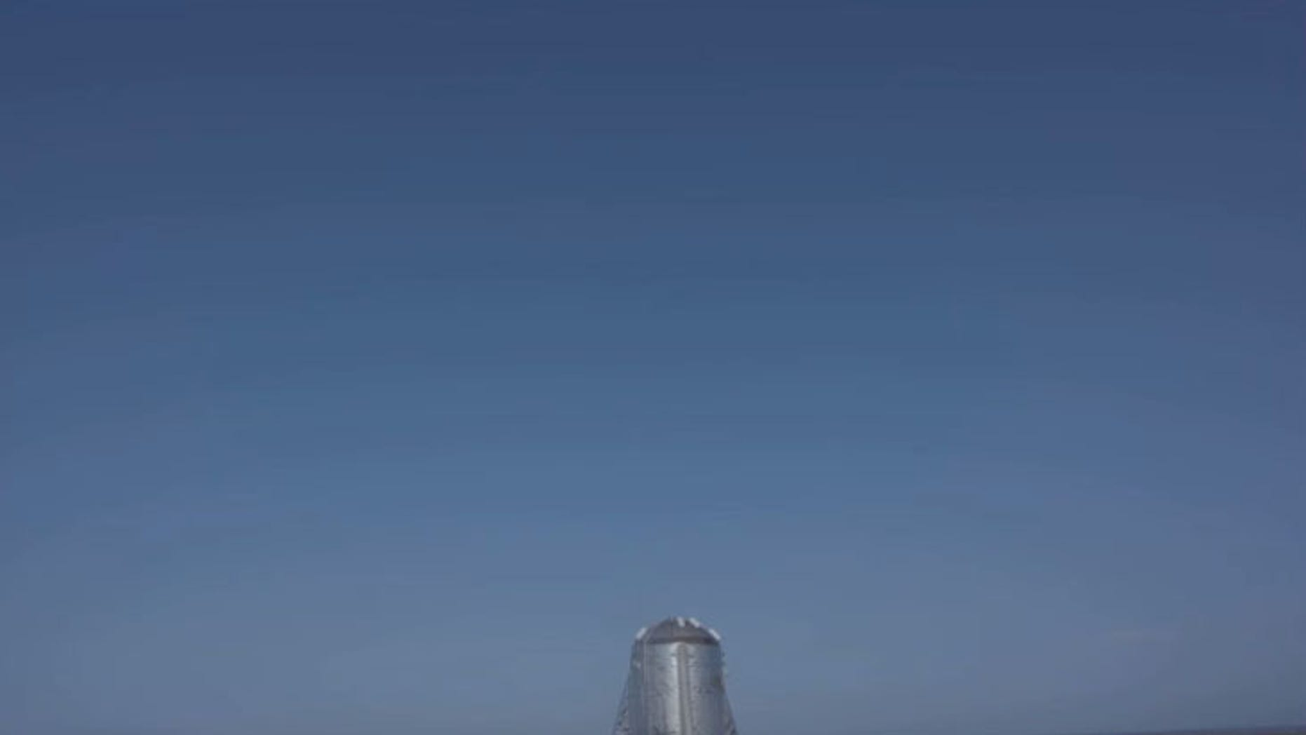 SpaceX's Starhopper prototype is seen just after a launch abort at the company's South Texas test site near Boca Chica Village on Aug. 26, 2019.