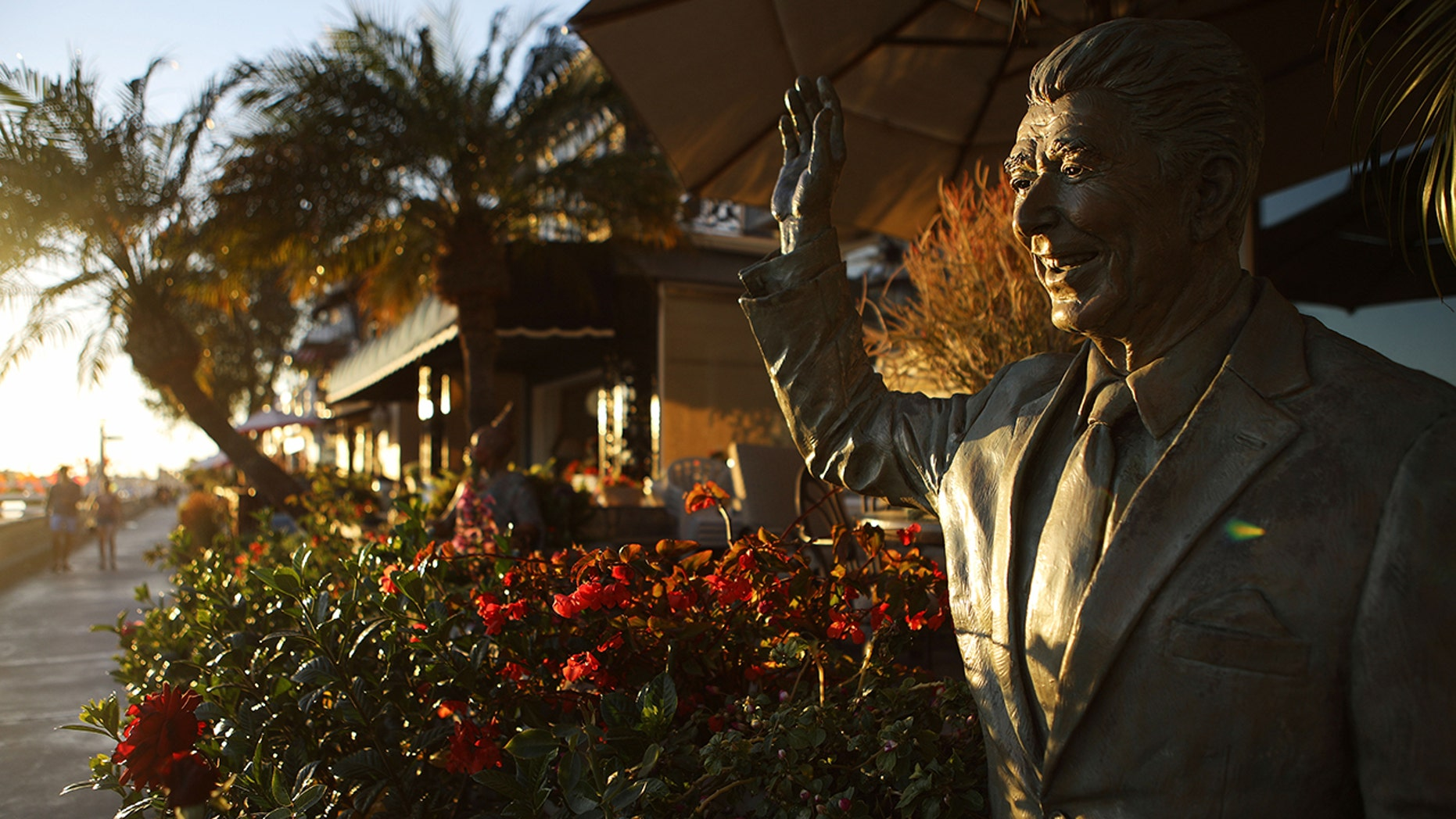 A statue of former President Ronald Reagan stands in front of a home on Orange County's Balboa Island on Oct. 20, 2018 in Newport Beach, California. (Photo by Mario Tama/Getty Images)