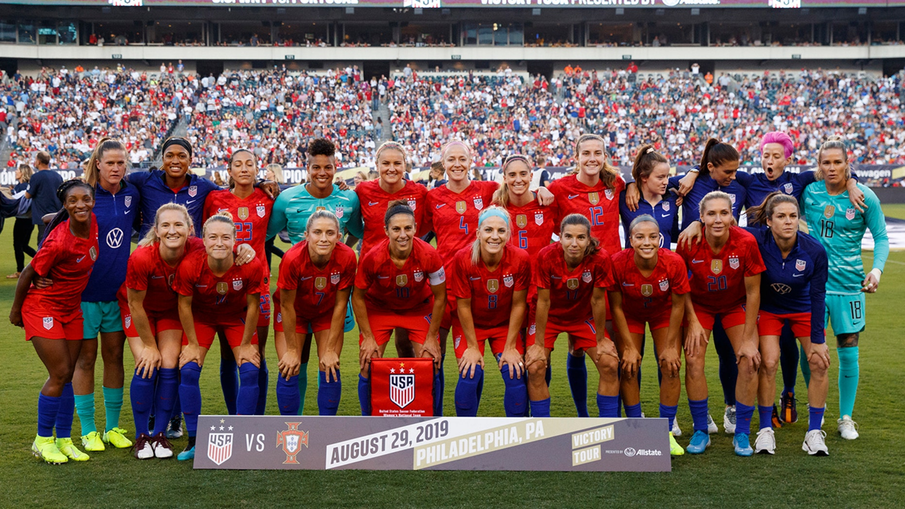 U.S. players pose for photos before an international friendly soccer match against Portugal, Thursday, Aug. 29, 2019, in Philadelphia. (AP Photo/Matt Slocum)