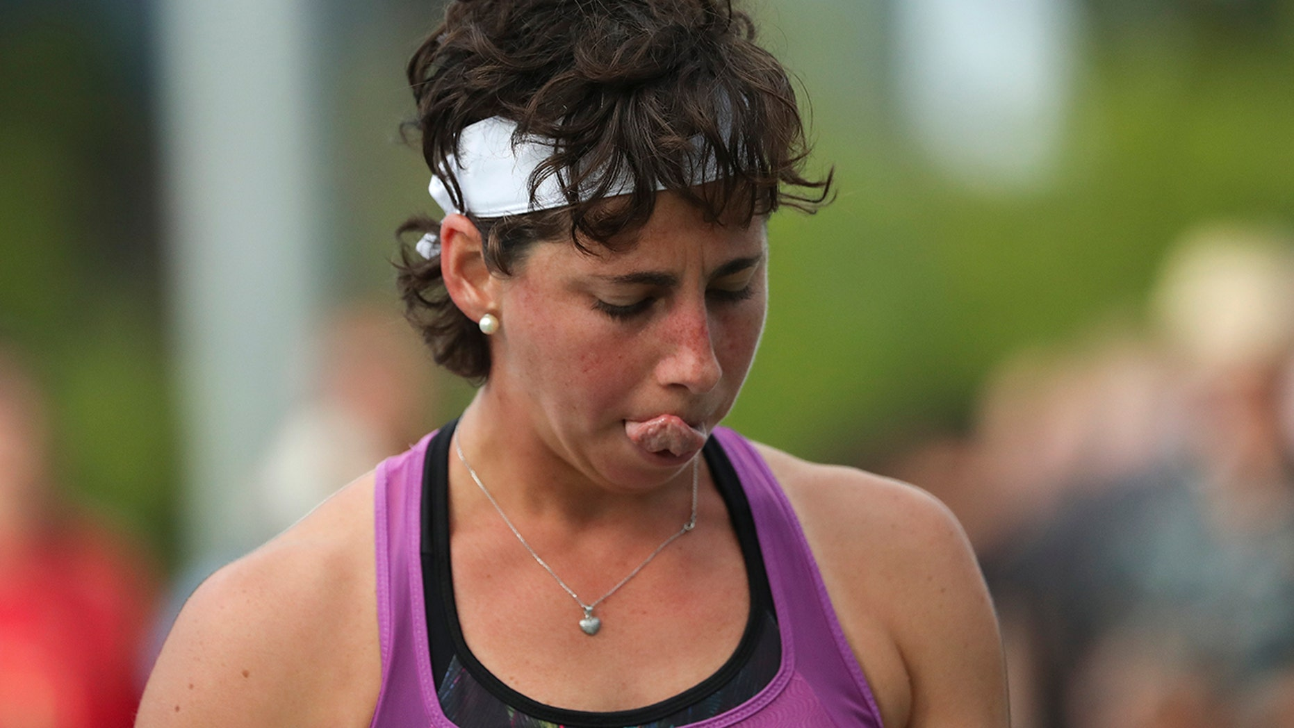 "Spaniard Carla Suarez Navarro reacts after losing one point against Hungarian Timea Babos in New York on Tuesday, August 27, 201<div class=""e3lan e3lan-in-post1""><script async src=""//pagead2.googlesyndication.com/pagead/js/adsbygoogle.js""></script>