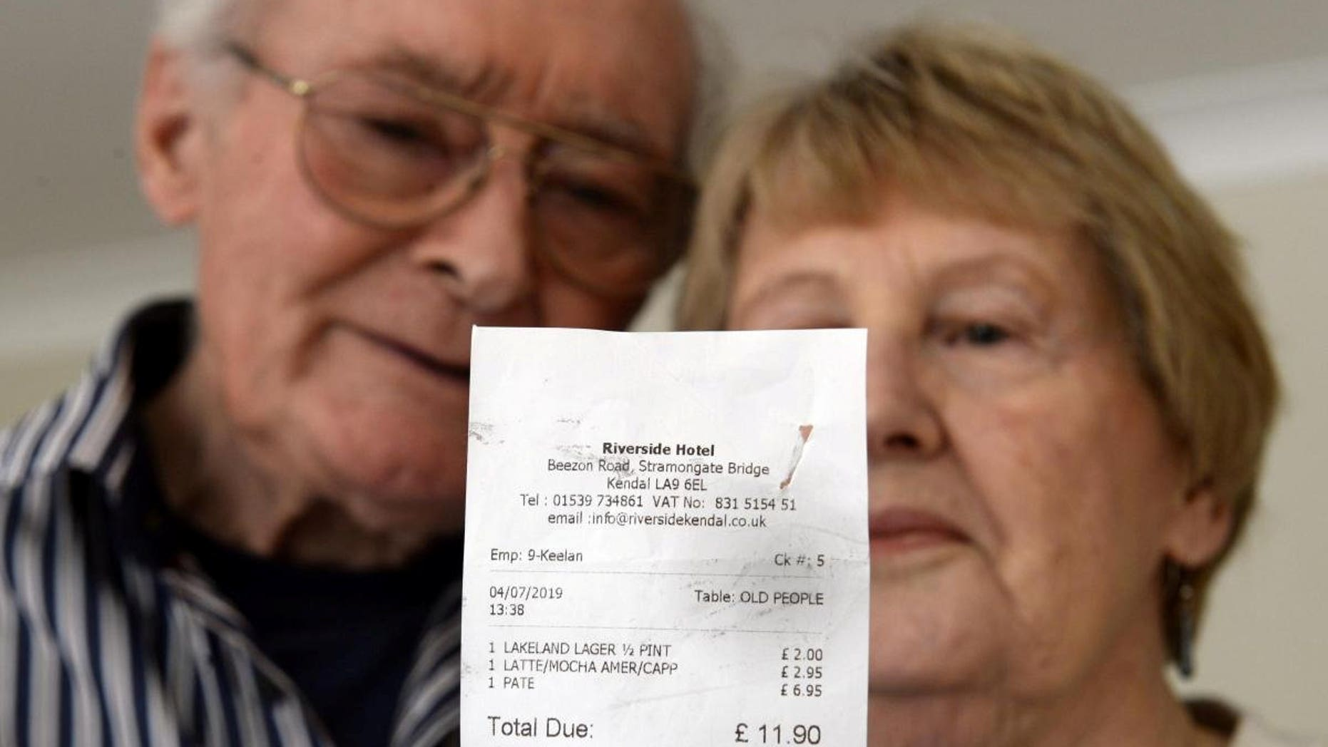 """Phyllis and Robert Hidden noticed the """"terrible"""" wording on their receipt after enjoying a lunchtime drink and a bite to eat last month."""