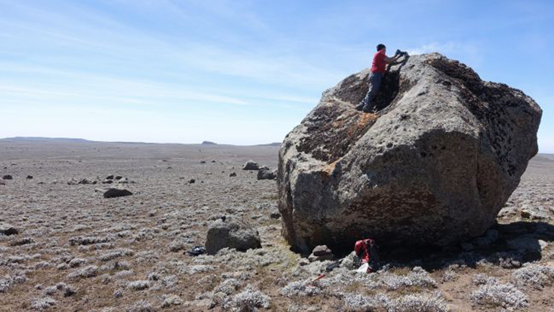 The researchers sampled erratic boulders deposited by a glacier on the central Sanetti Plateau in the Bale Mountains. Analysis of the boulders was used to figure out how long ago that glacier had advanced. (Credit: A.R. Groos)