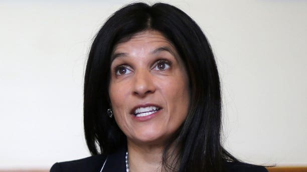 Maine House Speaker Sara Gideon, D-Freeport, speaks to reporters in her office at the State House in Augusta, Maine, May 5, 2018. Gideon announced Monday, June 24, 2019, that she will challenge longtime Republican U.S. Sen. Susan Collins in 2020. (Associated Press)