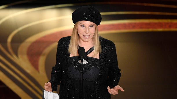 "Barbra Streisand introduces ""BlacKkKlansman"" at the Oscars at the Dolby Theatre in Los Angeles, Feb. 24, 2019. (Associated Press)"