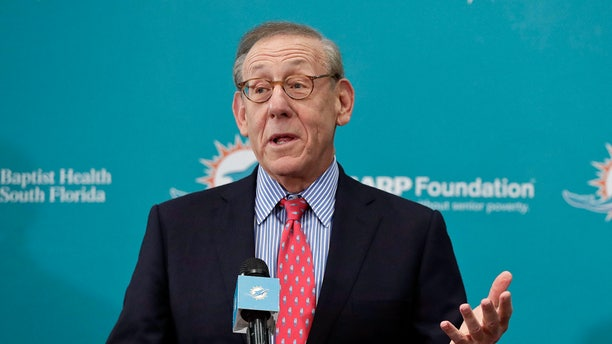 In this Feb. 4, 2019, file photo, Miami Dolphins owner Stephen Ross speaks in Davie, Fla. Ross, a billionaire New York investor who is hosting a high-dollar fundraiser for President Donald Trump also has a financial interest in the president's business empire. (AP Photo/Brynn Anderson, File)
