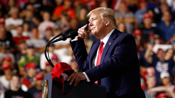 President Donald Trump speaks at a campaign rally, Thursday, Aug. 15, 2019, in Manchester, N.H. (Associated Press)