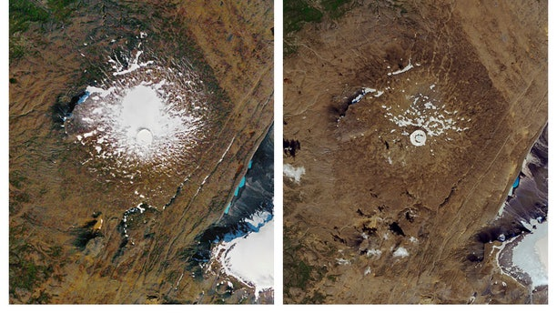 The Okjokull glacier onSept. 14, 1986, left, and what remained on Aug. 1, 2019. (NASA via AP)
