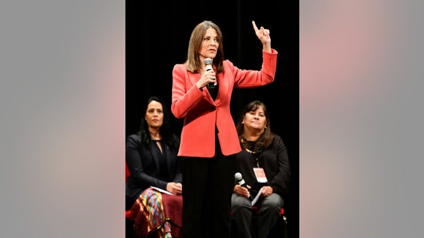 """Marianne Williamson, seen here speaking Monday in Iowa, announced details in her plane to crate a """"Department of Peace."""" (Tim Hynds/Sioux City Journal via AP)"""