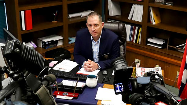 In this Thursday, Aug. 29, 2019, photo, acting Fort Smith, Ark., Police Chief Danny Baker answers questions during a news conference at the police department in Fort Smith.