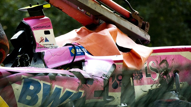Anthoine Hubert's car after the wreck. (REMKO DE WAAL/AFP/Getty Images)