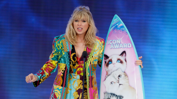 Taylor Swift accepts the Icon award at the Teen Choice Awards in Hermosa Beach, Calif. Swift plans to re-record her songs after her catalog was purchased by popular music manager Scooter Braun. (Photo by Danny Moloshok/Invision/AP, File)