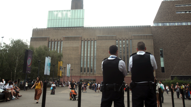 Emergency crews attending a scene at the Tate Modern art gallery, London, Sunday, Aug. 4, 2019.