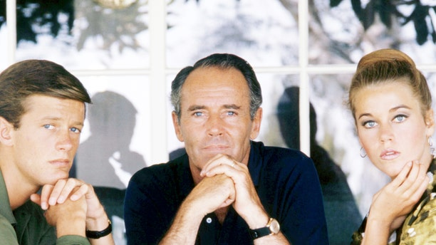 From left: Peter Fonda, Henry Fonda and Jane Fonda, circa 1963.