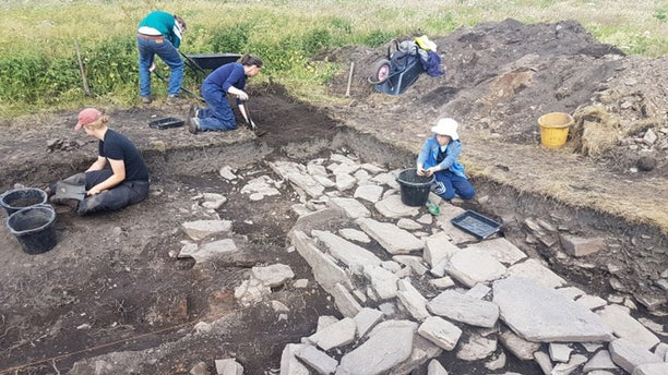 The excavation of the hall.