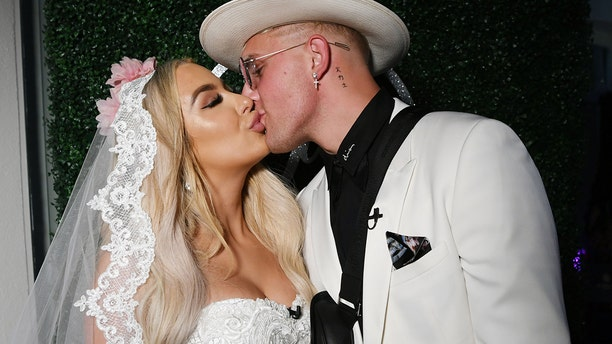 Jake Paul and Tana Mongeau at their wedding at Graffiti House on July 28, 2019 in Las Vegas, Nevada.
