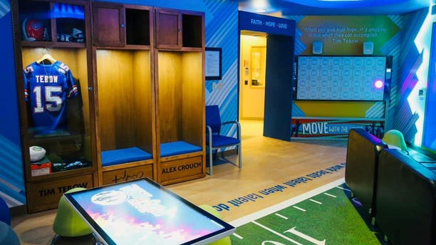 """The Tim Tebow Foundation opened its 10th """"Timmy's Playroom"""" to help children in the hospital have a place to just be a kid."""