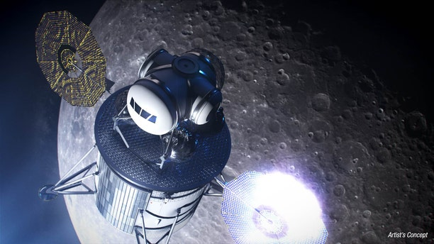 Artist's illustration of a moon lander capable of ferrying humans to the lunar surface.
