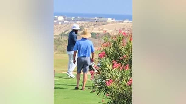 Ezekiel Elliott during his daily golf sessions at the luxurious, 1500-acre private Diamante Los Cabos resort in Mexico.