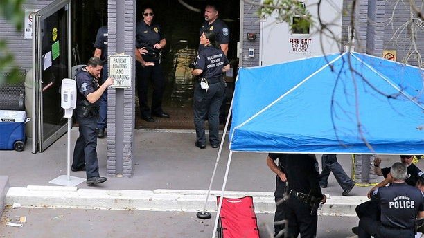 This 2017 photo shows police at the south entrance of the Rehabilitation Center at Hollywood Hills.