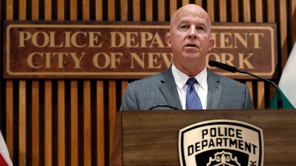 Police Commissioner James P. O'Neill makes an announcement at New York City Police Dept. headquarters, Monday, Aug. 19, 2019.