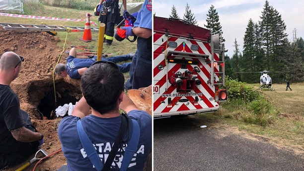 Rescuers from the Estacada fire department, a technical rescue team and Engine 318 from Clackamas Fire helped save the woman, fire officials said.