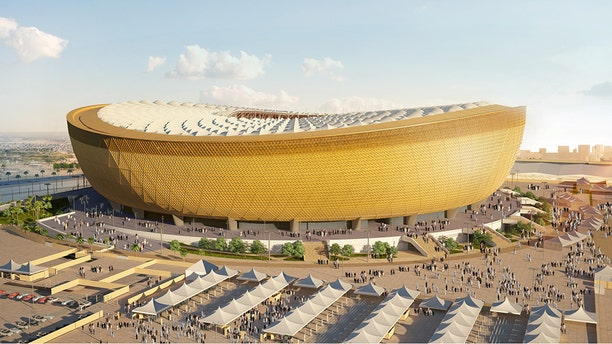 A computer-generated image of Lusail Stadium that will host the 2022 FIFA World Cup final, with seating capacity of 80,000, in Lusail City, north of central Doha, Qatar.