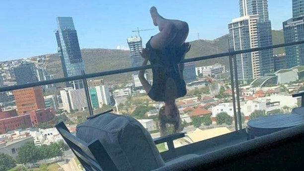 In August, college student Alex Terrazas was photographed hanging upside down over a balcony railing with her knees bent practicing a yoga pose before falling 80 feet.