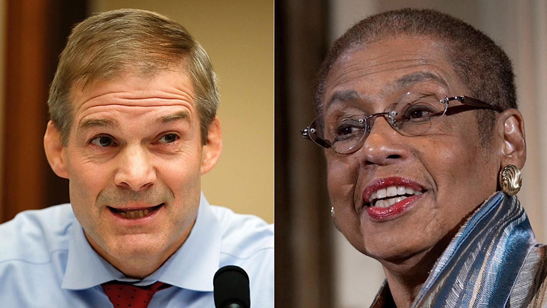 Ohio Rep. Jim Jordan, left, the top Republican on the House Oversight and Reform Committee, aired concerns about recent scandals involving D.C. city officials. Del. Eleanor Holmes Norton has sponsored a D.C. statehood bill.