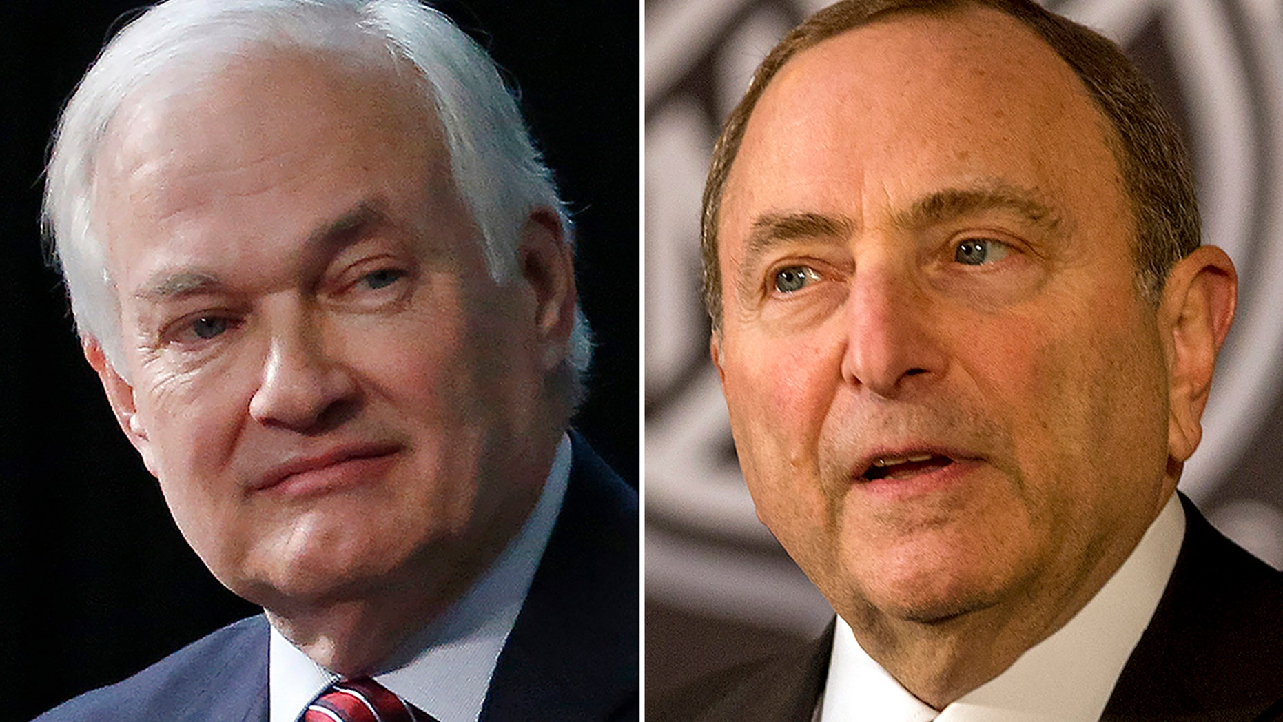 FILE - At left, in a 2015 file photo, is NHL Players Association executive director Donald Fehr. At right, in a 2018 file photo, is NHL commissioner Gary Bettman.  (AP Photo/File)